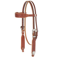Western Brown Leather Browband Style Hand Tooled Headstall By Aledo Saddlery