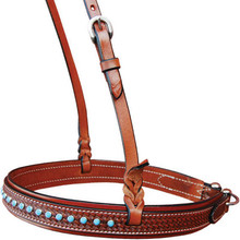 Western Brown Hand Tooled  Noseband with Blue Stones by Aledo Saddlery