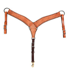 "Western Natural Leather Buckstiched 2.5"" Wide Breast Collar  by Aledo Saddlery"