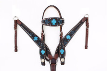 Western Black Set Of Hand carved Headstall and Breast Collar by Aledo Saddlery