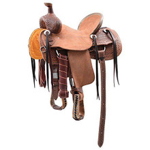 Western Natural Leather Roper Ranch Hand Tooled Saddle by Aledo Saddlery