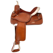Western Light Brown Leather Barrel Racer Hand Tooled Saddle by Aledo Saddlery