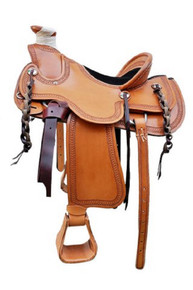 "natural wade roper ranch hand carved 17"" saddle"