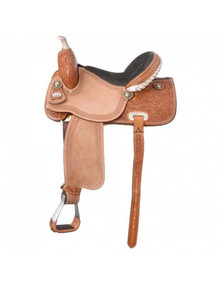 Western Light Brown Leather/Roughout Barrel Racer Hand Carved & Tooled Saddle by Aledo Saddlery