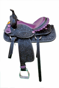 Western Black Leather Hand Carved Barrel Racer Saddle With Purple Gator Seat by Aledo Saddlery