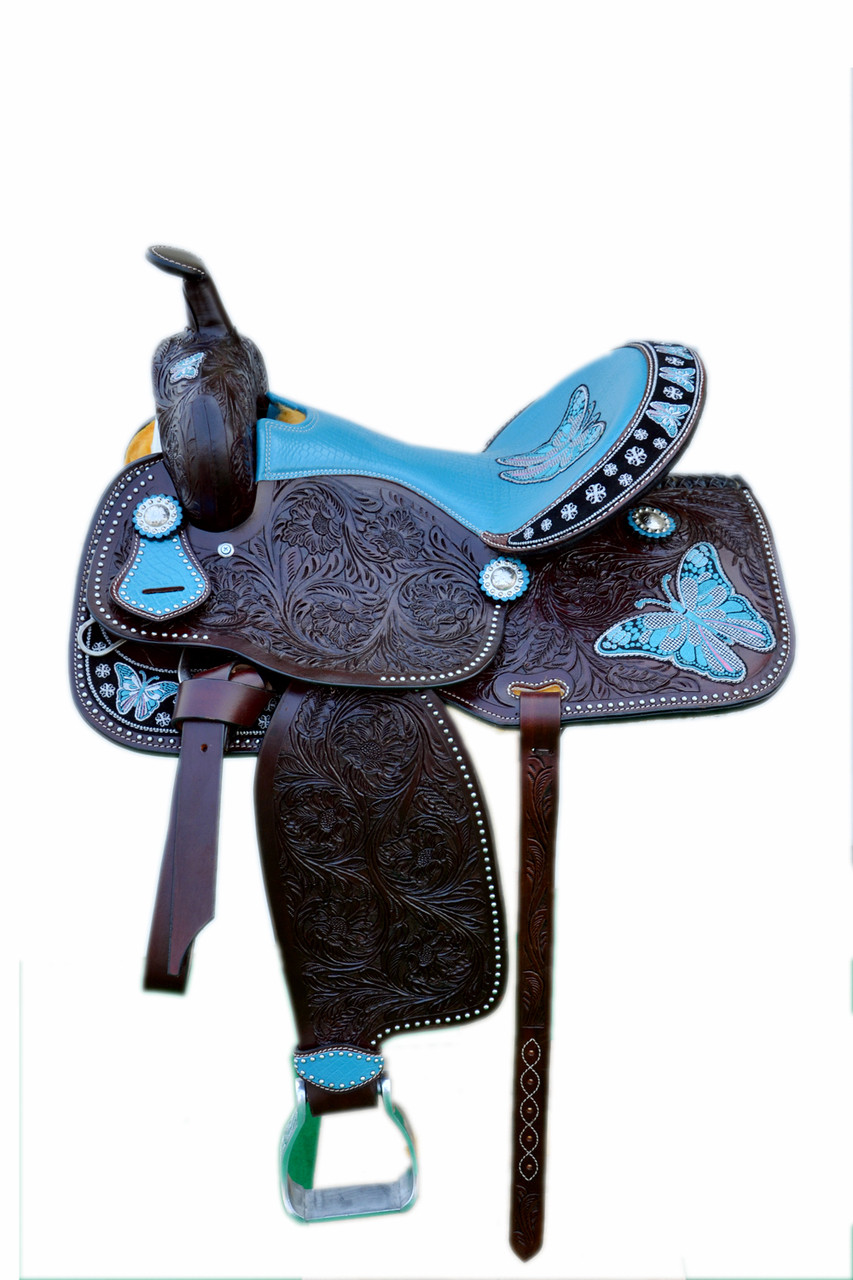 Western Brown Leather Butterfly Embroidred Hand Carved Barrel Racer Saddle With Blue Gator Seat By Aledo Saddlery Aledosaddlery