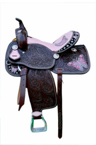 Western Brown Leather Butter Fly Embroidered Hand Carved Barrel Racer Saddle With Pink Gator Seat by Aledo Saddlery