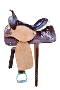 Western Brown Rough Out Hand Carved Barrel Racer Saddle with Pink Embroidered Cross By Aledo Saddlery