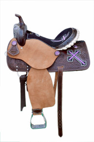Western Brown Rough Out Hand Carved Barrel Racer Saddle with Purple Embroidered Cross By Aledo Saddlery