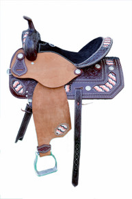 Western Brown & Rough Out Leather Hand Carved Barrel Racer Saddle with Beaded Inlay By Aledo Saddlery