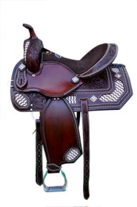 Western Havana Leather Hand Carved Barrel Racer Saddle with Beaded Inlay By Aledo Saddlery