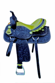Western Black Leather Hand Carved Barrel Racer Saddle with Lime Green Gator Seat By Aledo Saddlery