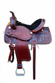 Western Mohagany Leather Hand Carved Pleasure Trail Saddle with Blue Paint Inlay By Aledo Saddlery