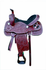 Western Dark Brown Leather Hand Carved Barrel Racer  with American Flag By Aledo Saddlery