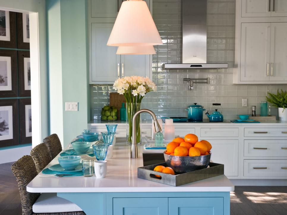 coastal kitchen with white marble epoxy countertops