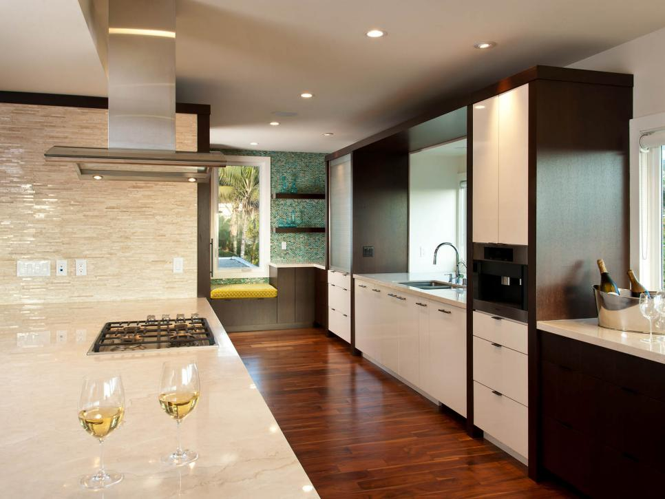 contemporary kitchen with travertine marble epoxy countertops