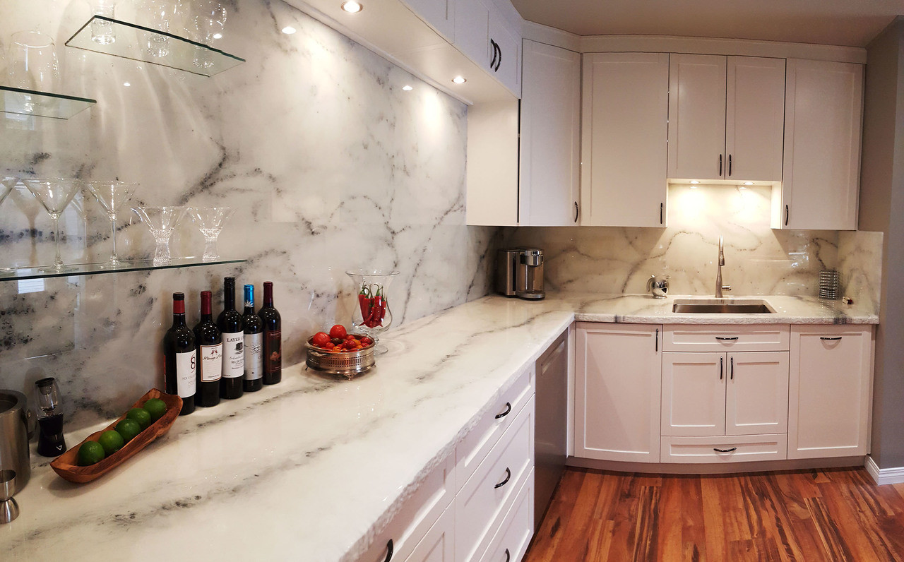 Kitchen With Premium White Marble FX Poxy Countertop Kit
