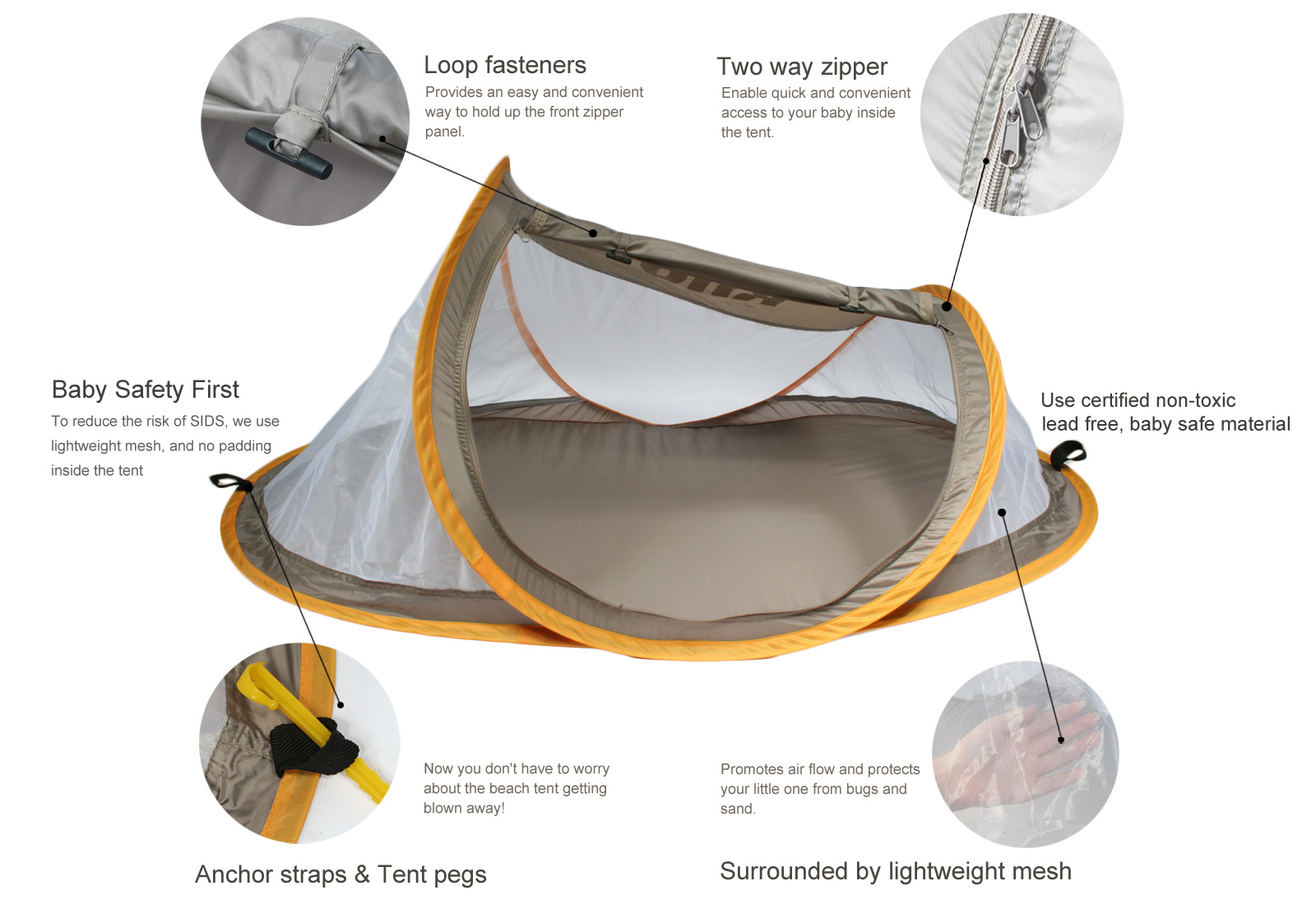 Kilofly Original Instant Pop Up Portable Travel Baby Beach Tent