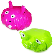 kilofly Fun Shower Caps Value Pack [Set of 2], Green Frog & Pink Hippo