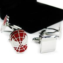 kilofly Cufflinks Combo [Set of 2 pairs] - Spiderman, with Velvet Gift Box