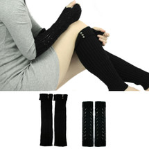 kilofly Fingerless Arm Long Gloves and Leg Warmers Combo Set, 2 Pairs - Black