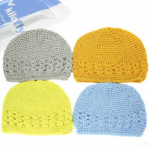 KF Baby Super Soft Crochet Beanie Hat, Set of 4