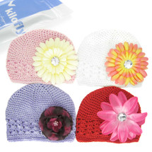 KF Baby Soft Crochet Beanie Hat with Flower Clip, Set of 4 (4 Hats + 4 Clips)