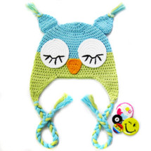 KF Baby Animal Beanie Hat, with Ear Flaps, Owl, Blue Green, 4 Pinback Buttons