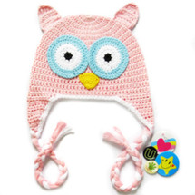 KF Baby Animal Beanie Hat, with Ear Flaps and Braids, Owl, Pink + 4 Pinback Buttons