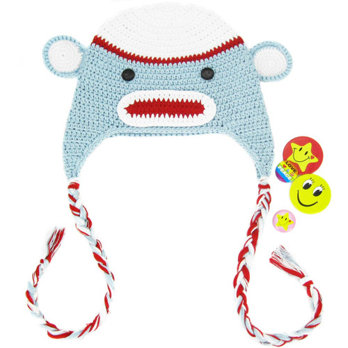 KF Baby Animal Beanie Hat, with Ear Flaps, Monkey, Grey, 4 Pinback Buttons