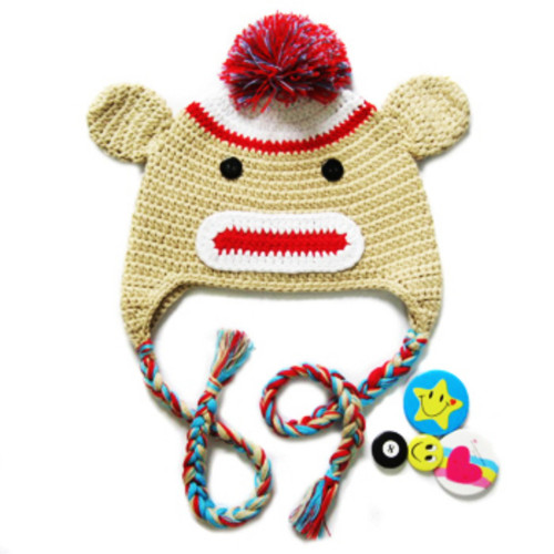 KF Baby Animal Beanie Hat, with Ear Flaps, Monkey, Brown, 4 Pinback Buttons