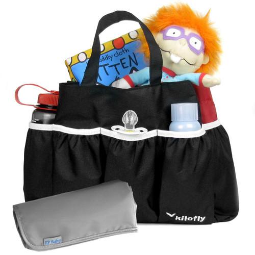 kilofly Diaper Bag Insert Organizer, Multiple Pockets, + Diaper Changing Pad