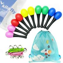 kilofly Musical Toys Rhythm Plastic Egg Maracas Value Pack, 5 colors [Set of 10 + 2 Wrist Bells]
