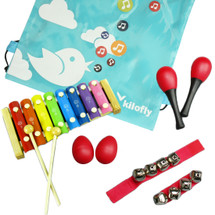 kilofly Mini Band Musical Instruments Value Pack, Xylophone + 6 Rhythm Toys