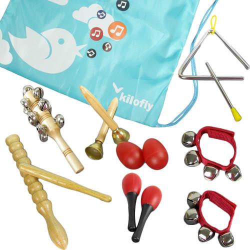 kilofly Kids Mini Band Musical Instruments Rhythm Toys Value Pack [Set of 11]