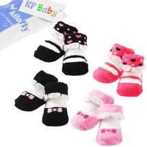 KF Baby Non-Skid Baby Girl Socks, 4 pairs