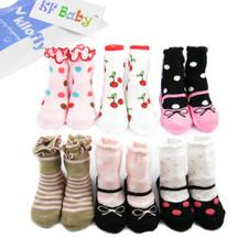KF Baby Non-Skid Baby Girl Socks, 6 pairs