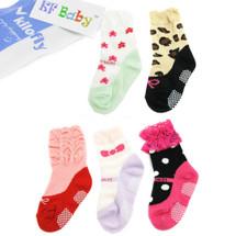 KF Baby Non-Skid Baby Girl Ruffle Lace Shoe Socks,5 pairs