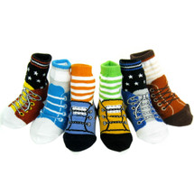 KF Baby Non-Skid Baby Boy Shoe Socks, 6 pairs, for 12 - 24 Months