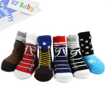 KF Baby Non-Skid Baby Boy Shoe Socks, 6 pairs, for 6 - 18 Months