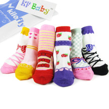 KF Baby Non-Skid Baby Girl Shoe Socks, 6 pairs, for 12 - 24 Months