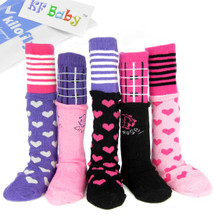 KF Baby Girl Non-Skid Stitched Ribbon Calf Socks [Set of 5 Pairs], 6 - 18 Months