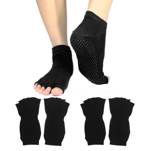 kilofly Non-skid Half Toe Cotton Yoga Socks Value Pack [Set of 2 pairs]