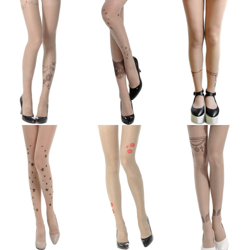 kilofly Fun Cute Tattoo Print Sheer Pantyhose, Set of 6 Unique Designs