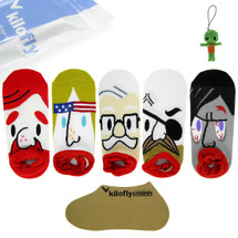 kilofly Thick Lips Pirate Low Cut Cotton Socks Set of 5 Pairs, with Voodoo Doll