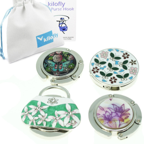 kilofly Purse Hook [Set of 4] - Foldable - Butterfly Garden, with kilofly Pouch
