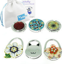 kilofly Purse Hook [Set of 6] - Foldable - Kitty in Garden, with kilofly Pouch