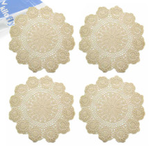 kilofly Handmade Crochet Round Cotton Lace Table Placemats Doilies Value Pack [Set of 4], Lotus