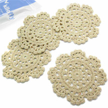 kilofly Small Handmade Crochet Round Cotton Lace Table Placemats Doilies for Cup/Glass Value Pack [Set of 4], Medallion, Beige