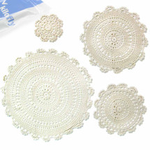 kilofly Handmade Crochet Round Cotton Lace Table Placemats Doilies Assorted Value Pack [Set of 4], Medallion